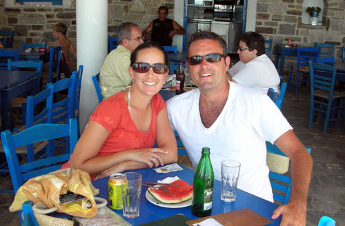 Karpouzi at a beachside cafe in Naxos