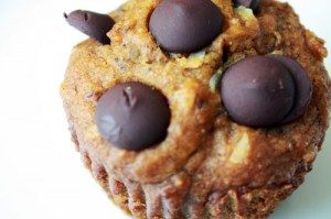 Sweet and Healthy Vegan Chocolate Chip Coconut Pumpkin Muffins